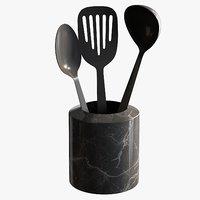 3D realistic black kitchen utensils