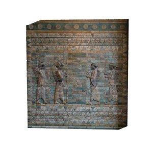 assyrian frieze 4 archers 3D model