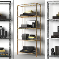 THADDEUS FORGED BRASS & GLASS OPEN SHELVING