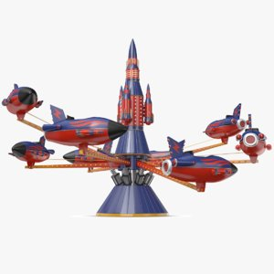 3D model real rockets carousel