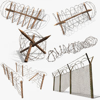 barbed wire fence obstacles 3D model