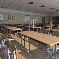 3D classroom seats model