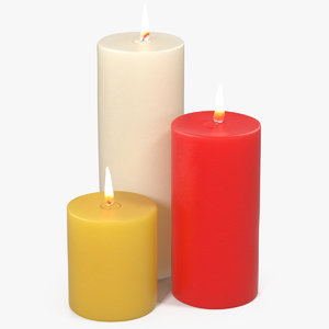 3D model candles flame light
