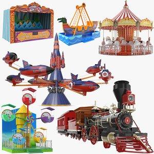 park amusement ride ferris wheel 3D model