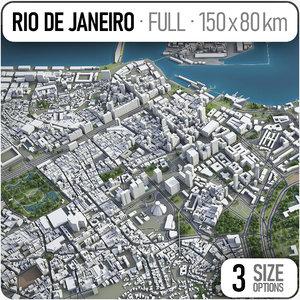 3D rio janeiro surrounding area model