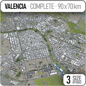 city valencia surrounding area 3D model