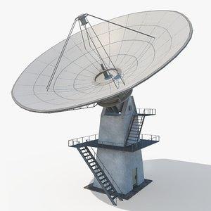 3D satellite dish radio telescope model