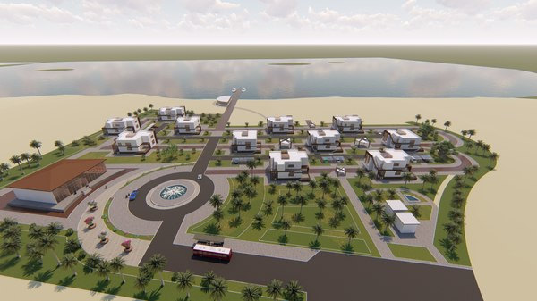 revit residential complex sea 3D model