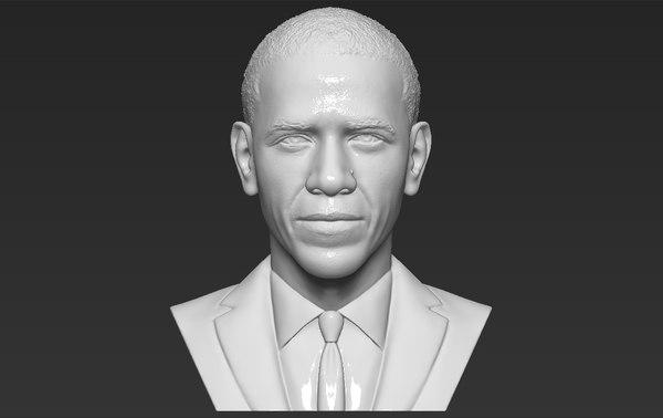 3D barack obama bust ready