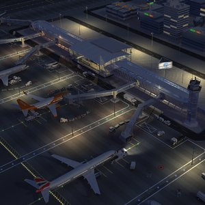 3D airport airfield night