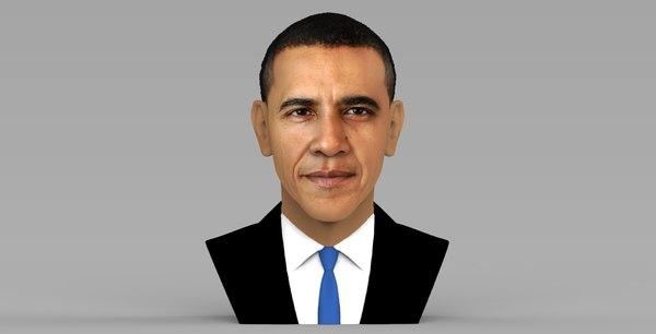 barack obama bust ready 3D model