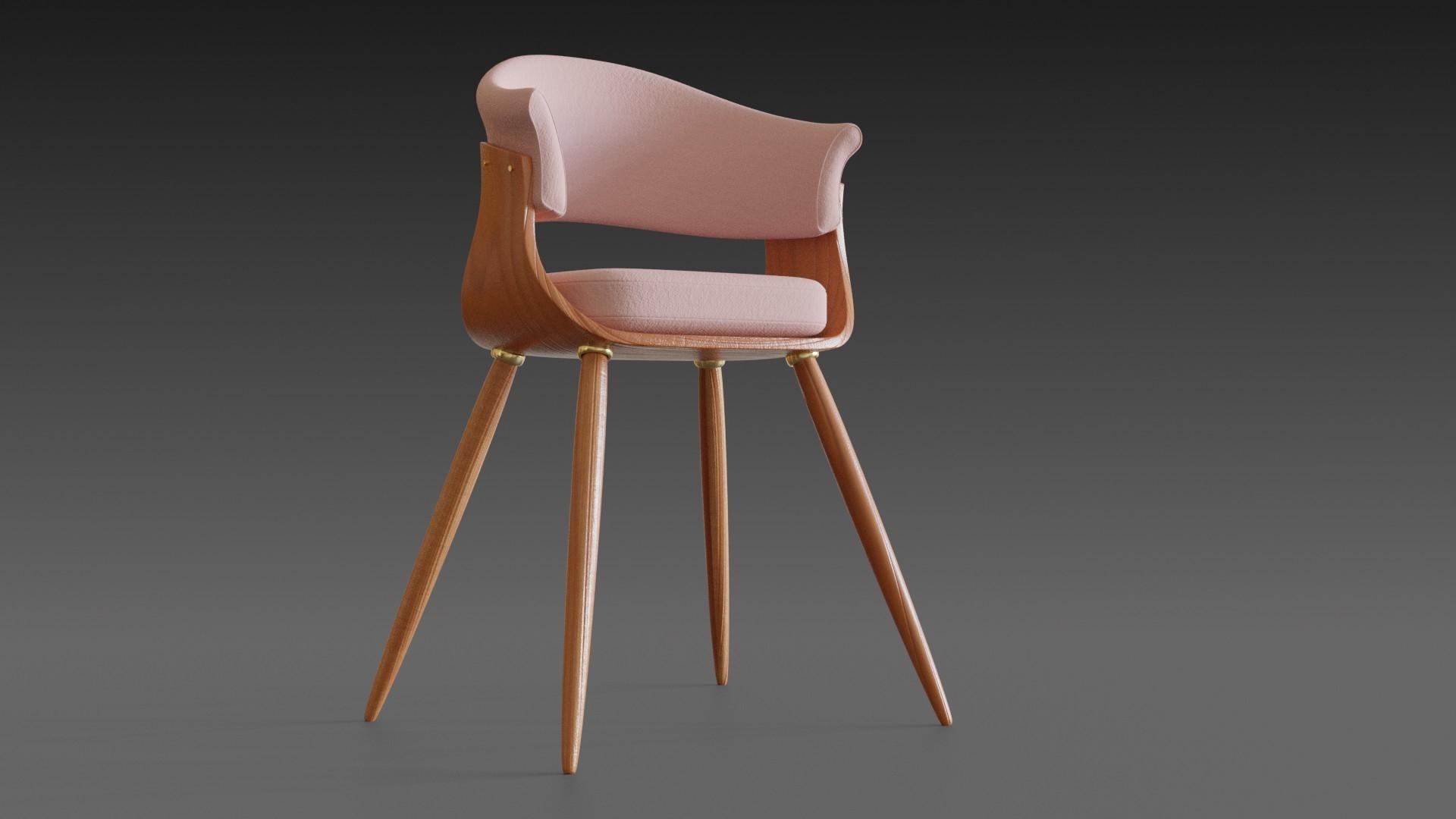 wooden chair pillow wood 3D model