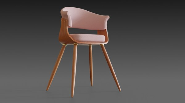 wooden chair pillow wood 3D model