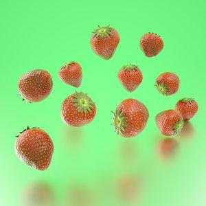 3D model photorealistic strawberries