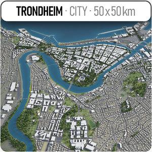 3D trondheim surrounding area -