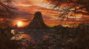 3D environment volcano sunset