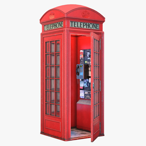 3D british red telephone box