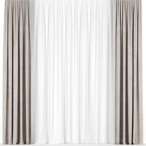 3D model curtains beige tulle