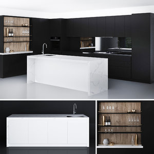 glamour black kitchen laminex 3D model
