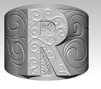 3D letter r ring