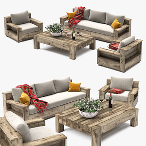 3D set outdoor furniture