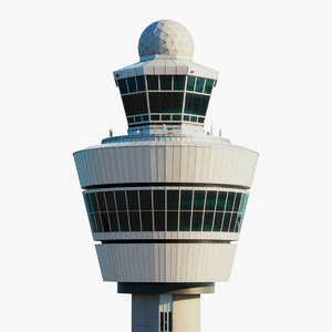 3D amsterdam air control tower model