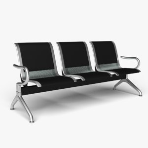 3 leather seat reception 3D model