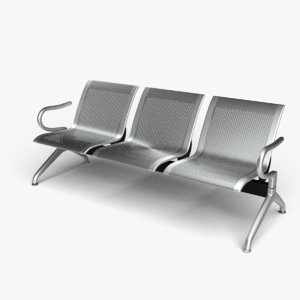 3D model 3 seat reception bench