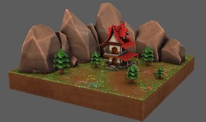 cartoon scenes house 3D model