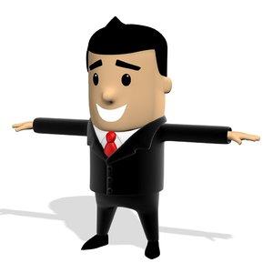 business man suit cute cartoon 3D