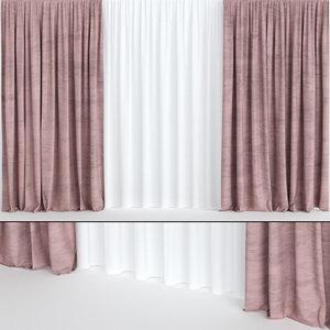 3D curtains burgundy velvet model