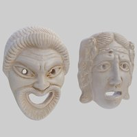 3D theater comedy tragedy masks