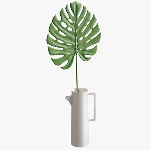 realistic faux monstera leaf 3D model