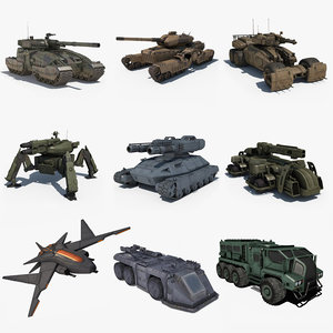 pack vehicles sci fi 3D model