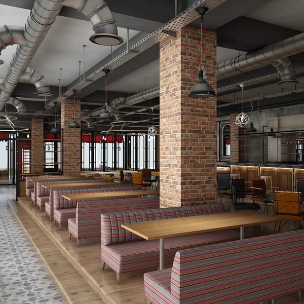 3D restaurant cafe interior model