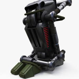 3D model mecha robot leg
