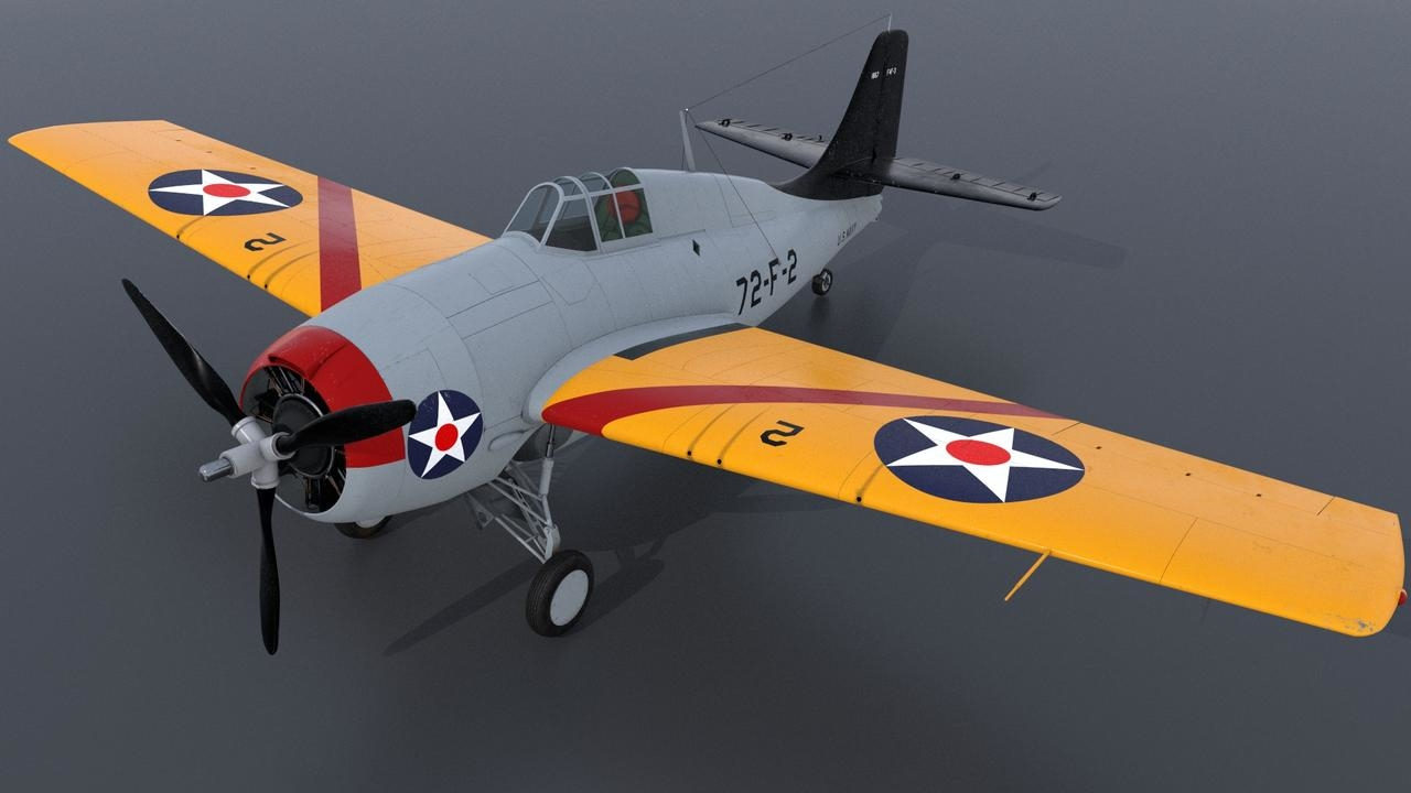 3D uss grumman wildcat fighter aircraft