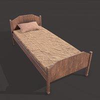 medieval single bed 3D model