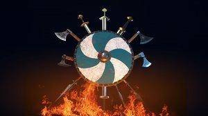 3D model swords shields weapon