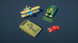 3D model biplane truck harvester car