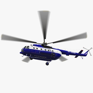 mi-8amt russian police animation 3D model