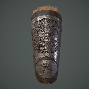 viking fur lined bracers 3D