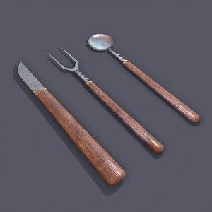 3D medieval cutlery