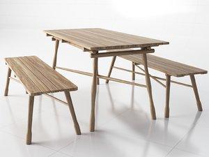 wooden garden 3D model