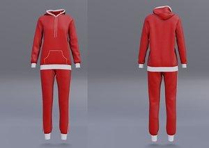 3D red tracksuit - hoodie