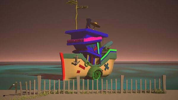 small cartoon boat 3D model