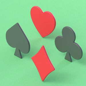 3D model playing card suits