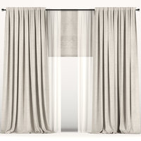 3D curtains beige tulle model