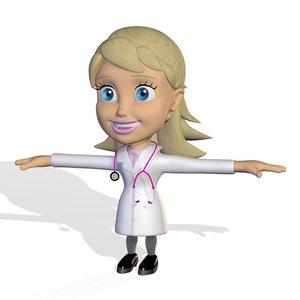 dr female doctor cute cartoon 3D model