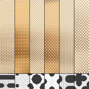 3D perforated panels set model